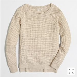 J. Crew Waffle Knit Linen Sweater Natural Tan